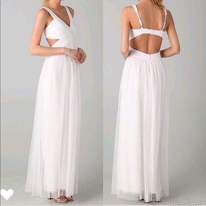 BCBGMAXAZRIA white mesh tulle Mara formal gown